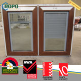 Wooden Color UPVC Casement Windows with Blinds Glass
