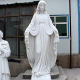 Catholic Religious Life Size Carving White Marble Stone Virgin Mary Statue