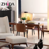 Italian Style Solid Modern Dining Table of Walnut Color