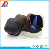 Elegant Octagonal PU Leather Jewelry Ring Box with LED Light
