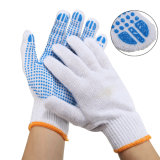 Blue PVC Dotted Natural White Cotton Knitted Gloves