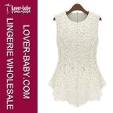 Women Fashion Embroidery Blouse Lace Tops Crochet Shirt (L403)