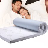 Soft Memory Foam Bed Mattress Topper with Breathable Bamboo Fabric Cover