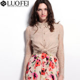 Women Designer Fashion Button up Long Sleeve Lace Blouse Top