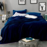 Wholesale Solid Plush Navy Color Full Flannel Coral Fleece Blanket