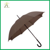 Auto Open Pongee Fabric Black Fiberglass Frame Golf Straight Umbrella with Wooden Handle