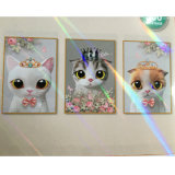 Short Lint 3 Panel Lovely Cat Triptych 5D Diamond Painting Oil Canvas Painting