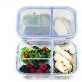 3 Divider Compartment Glass Meal Prep Container with Lock Lid