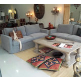 Grey Upholstery Fabric Cotton Lobby Living Room Sofa