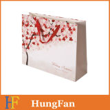 Coated Paper Printed Promotional Paper   Bag with Ribbon