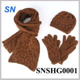 Fashion Hot Sell Scarf Hat Gloves Set for Ladies