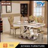Dining Table Set Marble Top Gold Metal Dinner Table