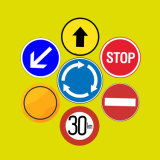 Aluminum Reflective Road Safety Board Warning Triangle Round Stand Traffic Signs Price List