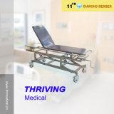 Hospital Stretcher as Emergency Bed with Oxygen Bottle Holder and I. V Pole (THR-E-15)