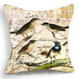 Decorative Square Spring Birds Design Decor Fabric Cushion W/Filling