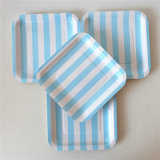 "Disposable Square 7"" Light Blue Striped Paper Plates for Party"