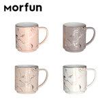 Wholesale Color Porcelain Milk Tea Mug Set of 4 Tower Decal Coffee Ceramic Stackable Mug