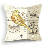 Decorative Square Bird Design Decor Fabric Cushion W/Filling