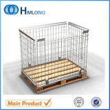 Steel Folding Wire Mesh Pallet Cage with Wooden Pallet