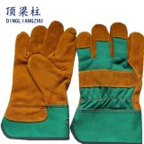 Short Yellow Cow Welding Leather Gloves with Green Cotton Back