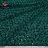Nigeria Green 100% Cotton Lace Fabric Soft Cotton Fabric