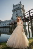 V-Neckline Bridal Ball Gowns Champagne Tulle Pearls Prom Party Quinceanera Dresses Z5071