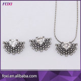 Heart Shape Micro CZ Pave Jewelry Set with Black Rhodium Plating