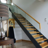 Hot Sale Solid Wood Staircase with Glass Railing