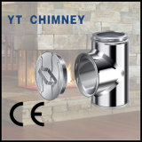 6′′ (150mm) Twin Wall Stainless Steel Insulated Chimney Accessories 90 Degree Tee