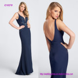 Curved Deep V-Neckline Hand-Beaded Evening Dress with Two-Piece Stretch Crepe
