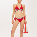 Women Stripe Trim Ties Sexy Charm Fashion Triangle Bikini Swimsuit