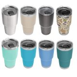 20oz 30oz Leopard Pattern Tumbler Double Wall Stainless Steel Vacuum Insulation Coffee Cup Travel Mug with Crystal Clear Lid