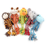 Animal Head and Cotton Rope Body Pet Dog Chewing and Hunting Toy