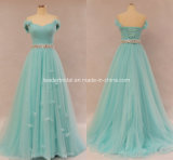 Sky Blue Formal Ball Gowns Tulle Beaded Evening Prom Dresses Z5017
