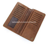 Men′s Long Bifold Wallet Leather 13 Card Slots Cellphone Organizer