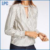 Striped Notch Neck Long Sleeve Shirt
