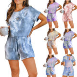 Women Tie Dye Print Playsuit O Neck Short Sleeve Bodycon Short Jumpsuit Overalls Sexy Night Club Tracksuit Party Romper Playsuit