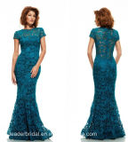 Teal Blue Lace Prom Dresses Sheath Evening Gowns B658