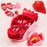 Kitchen Gadget Food Grade Plastic 3-in-1 Strawberry Slicer Cutter