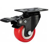 "2 Inch Small Red PU Caster with Total Brake Castor Wheel Smaller Casters 2"" Swivel Caster"