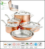 10PCS 3ply Body Copper Clad Outside Body Cookware Set