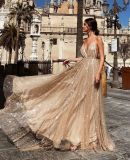 Glittery Prom Dress Long Backless Spaghetti Strap Shimmering Evening Ball Gown