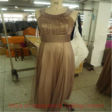 Champagne Color Evening Dress with Pearls Final Inspection/ Quality Control in Hangzhou Factory