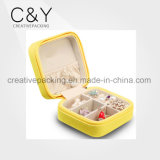 Yellow Customized Small Travel PU Leather Jewelry Box