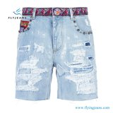 Ladies Distressed Ripped Embroidered Denim Shorts