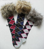 Lady′s Fashion Boots Socks with Fur Cuff