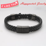 Wholesale Black Genuine Leather Stainless Steel Clasp Jewelry Bracelet