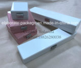 Popular White/Pink Wood Glossy Jewelry Package Set Box with Metal Plate