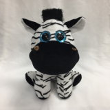 Glitter Big Eye Sitting Stuffed Plush Zebra
