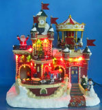 "Christmas Decoration 13"" LED Toy Shop with Moving Train and Carrousel and Eight Songs Music"